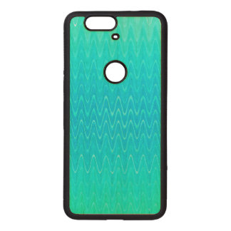 Turquoise Teal Blue Green Abstract Pattern Wood Nexus 6P Case