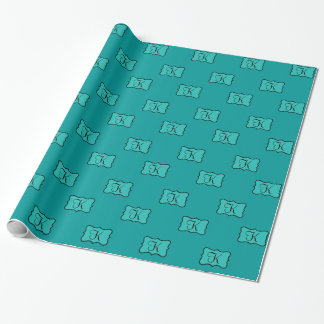 Turquoise Teal Custom Monogram Initial Wrapping Paper