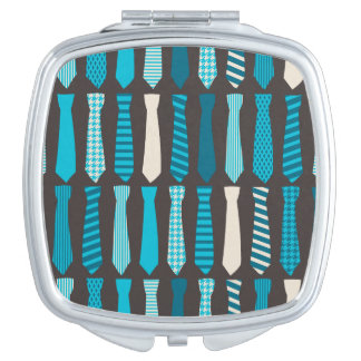 Turquoise TIes Teal Blue Boy Man Tie Print Compact Mirrors