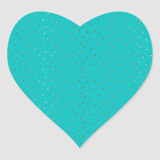 Turquoise Tiny Golden Stars Heart Sticker