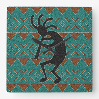 Turquoise Tribal Design Kokopelli Square Wall Clock