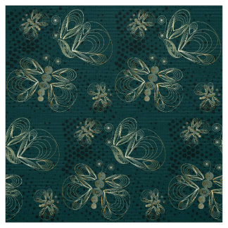 Turquoise vintage butterfly seamless pattern fabric