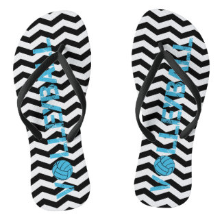 Turquoise Volleyball Black Chevron Flip Flops Thongs