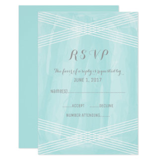 Turquoise Watercolor Deco RSVP Card