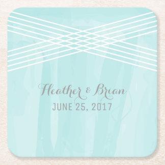 Turquoise Watercolor Deco Wedding Square Paper Coaster