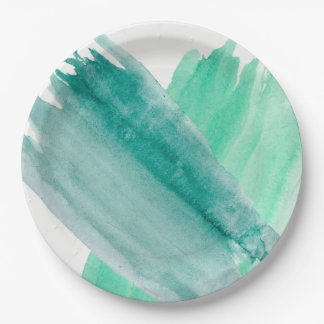 Turquoise Watercolor Paper Plates