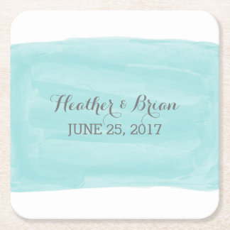 Turquoise Watercolor Wedding Paper Coasters