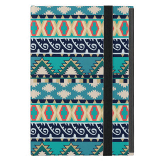 Turquoise Waves Tribal Pattern with Blue and Pink iPad Mini Cover