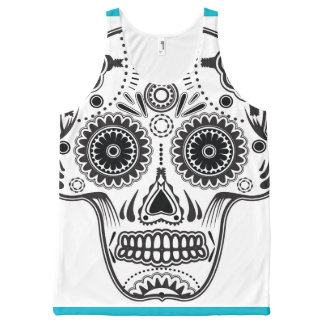 Turquoise, White and Black Sugar Skull Tank Top