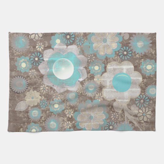 Turquoise Kitchen Towels: Turquoise-White Flowers American MoJo Kitchen Tea Towel