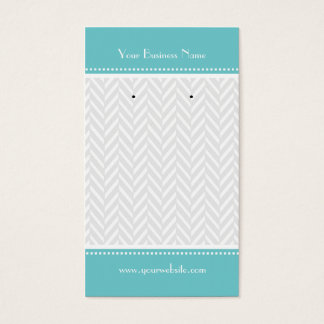 Turquoise White Gray Herringbone Earring Cards