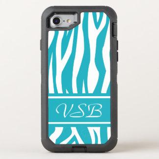 Turquoise Zebra Print with monogram OtterBox Defender iPhone 8/7 Case