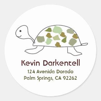 Turtle Address Labels Round Stickers