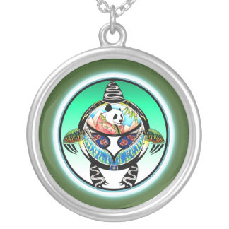 Turtle Panda Silver Plated Necklace