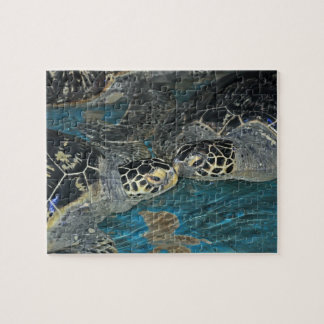 Turtles kissing in a ocean tank jigsaw puzzle