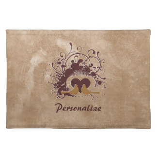 Tuscan Brown Love Birds With Name Placemat