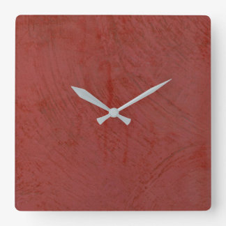 Tuscan Red Stucco Square Wall Clock
