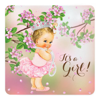 Tutu Cherry Blossom Pearl Baby Shower Card