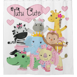 Tutu Cute Zoo Animals Ballerinas Shower Curtain