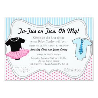 TuTus Ties, Gender Reveal Baby Shower Invitation