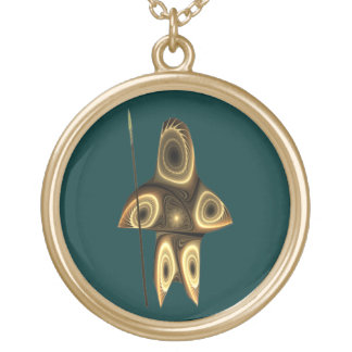 Tuvaaq - Fractal Inuit Hunter Gold Plated Necklace
