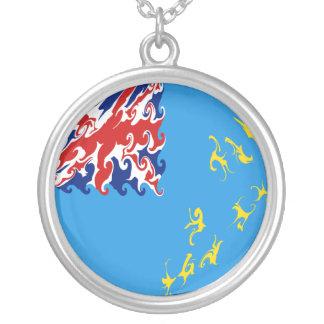 Tuvalu Gnarly Flag Round Pendant Necklace