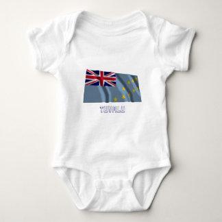 Tuvalu Waving Flag with Name Baby Bodysuit