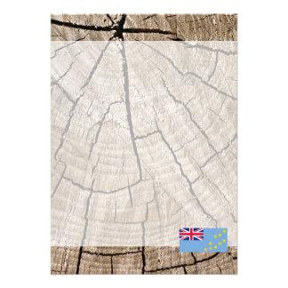 Tuvaluan flag on tree bark 13 cm x 18 cm invitation card