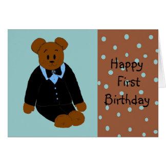 Tuxedo Bear First Birthday Card