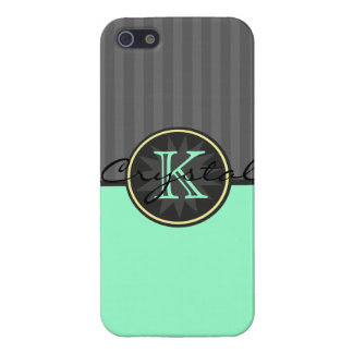 Tuxedo Black & Mint Circus Stripes Personalized iPhone 5 Case