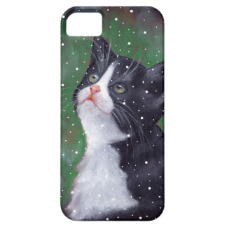 Tuxedo Cat Looking Up At Snowflakes, Painting iPhone 5 Case