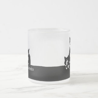 TuxedoTrio Frosted Glass Mug