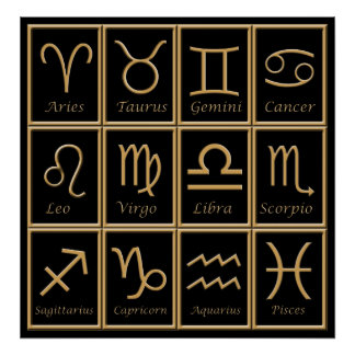 Twelve Gold Zodiac Signs Print