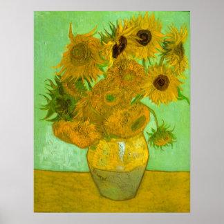 Twelve Sunflowers by Vincent van Gogh Poster