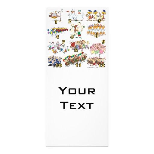 twelves days christmas song cartoon personalized rack card