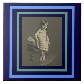 Twenties Child of Love on Blue Tile