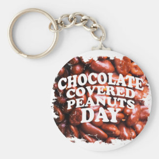 Twenty-fifth Februar Chocolate-Covered Peanuts Day Basic Round Button Key Ring