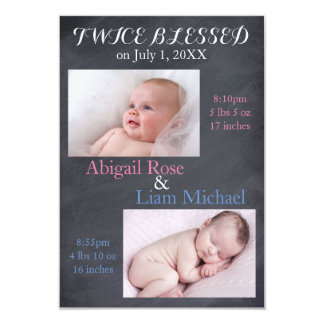Twice Blessed Twins - 3x5 Birth Announcement