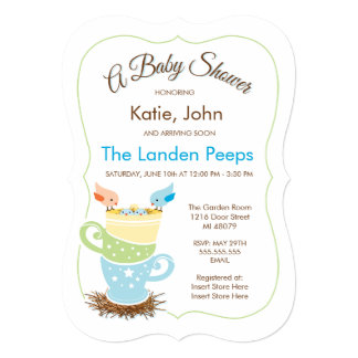 Twin Baby Birds |  Baby Shower Invitation