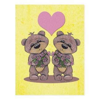 Twin Bears with Heart Postcard