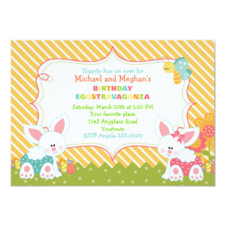 Twin Boy and Girl Easter Birthday Invite