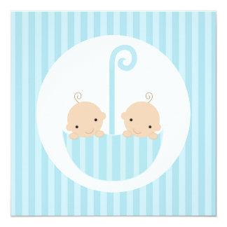 Twin Boys in Blue Umbrella Card
