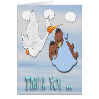 Twin Boys - Stork B Baby Shower Thank You card