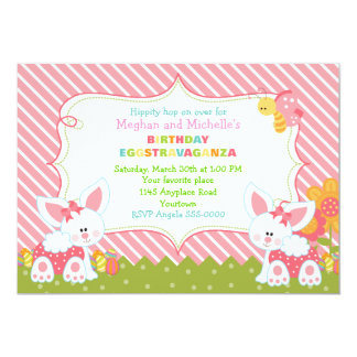 Twin Girls Easter Birthday Invitation
