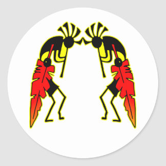 Twin Kokopeli w/ Feathers Classic Round Sticker