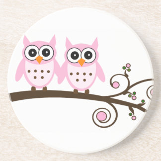 Twin Pink Owls on Brown Branch Coaster