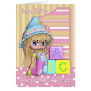 Twin sister birthday cards invitations zazzle twin sister 1st birthday card with cute girl bookmarktalkfo