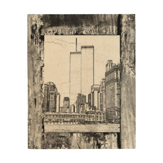 Twin Towers Wood Canvases