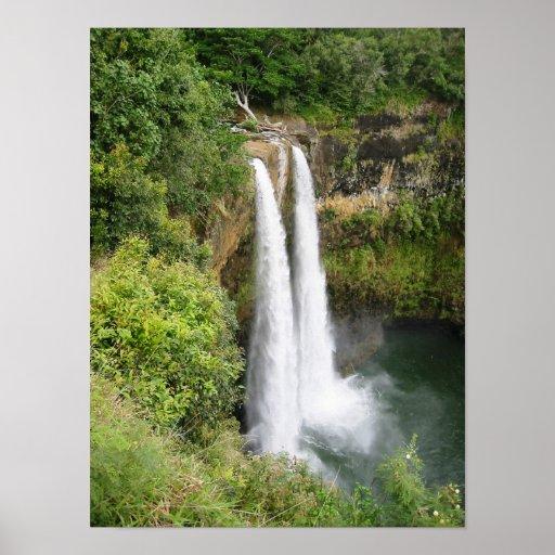 Twin Waterfalls Kauai Hi Posters Zazzle