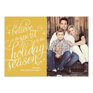 Twinkle 24KT Script Holiday Photo Card 13 Cm X 18 Cm Invitation Card